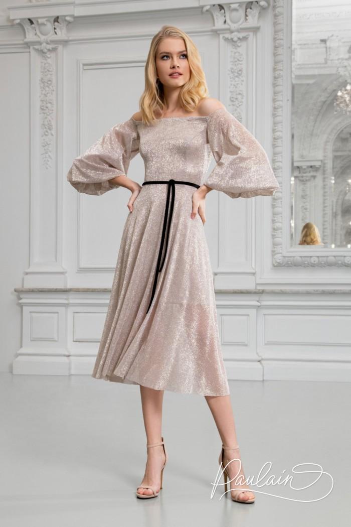 Сверкающее коктейльное платье модной длины с открытыми плечами - МИННА Миди | Paulain