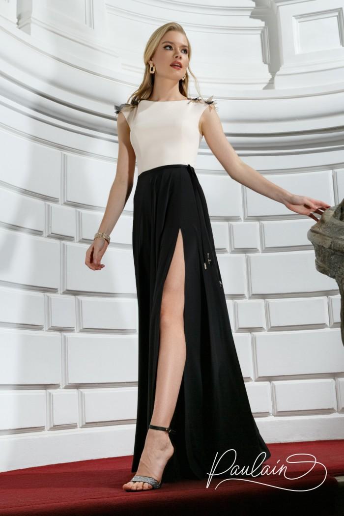 Длинное вечернее платье из благородного атласа с высоким разрезом - НОВА Макси | Paulain