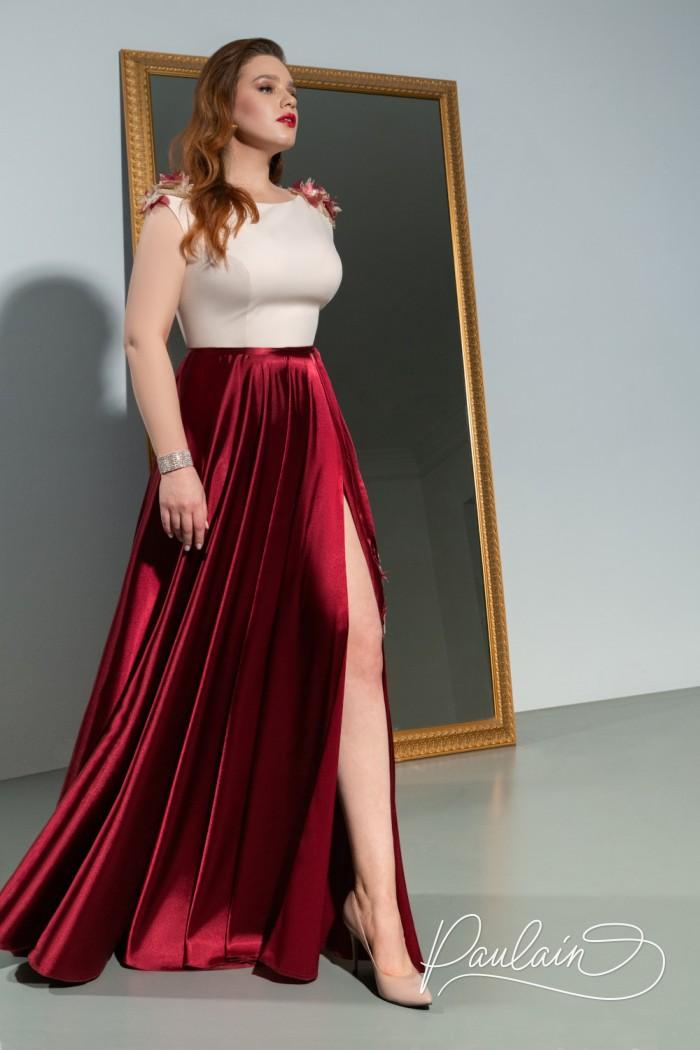 Длинное атласное вечернее платье с высоким разрезом - НОВА Макси | Paulain