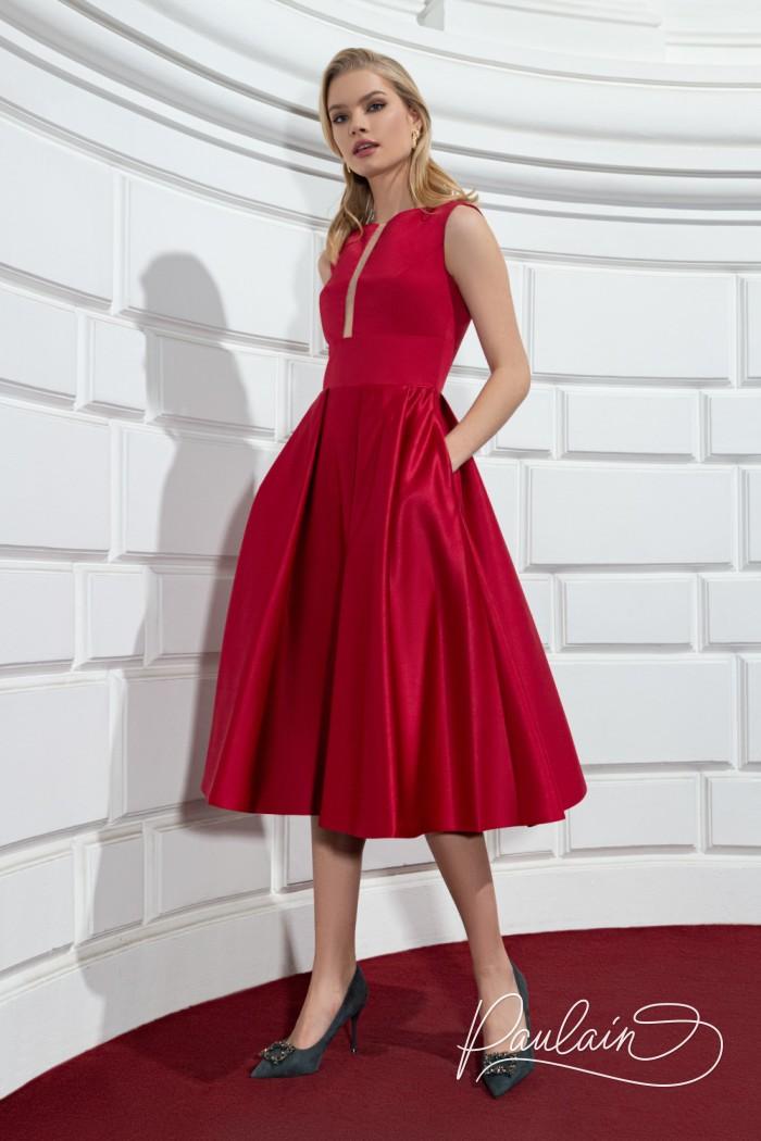 Идеальное коктейльное платье из тонкого атласа с юбкой длины миди - РИЗ Миди | Paulain