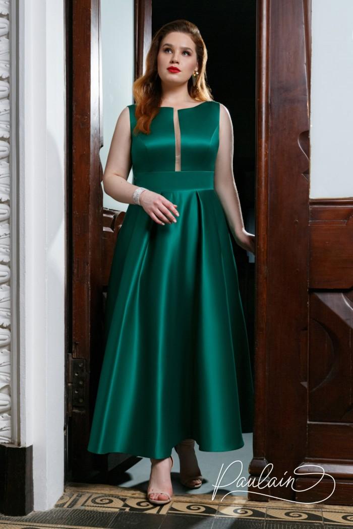 Минималистичный образ для особенных вечеров - благородный атлас в платье чайной длины - РИЗ Чайная   Paulain