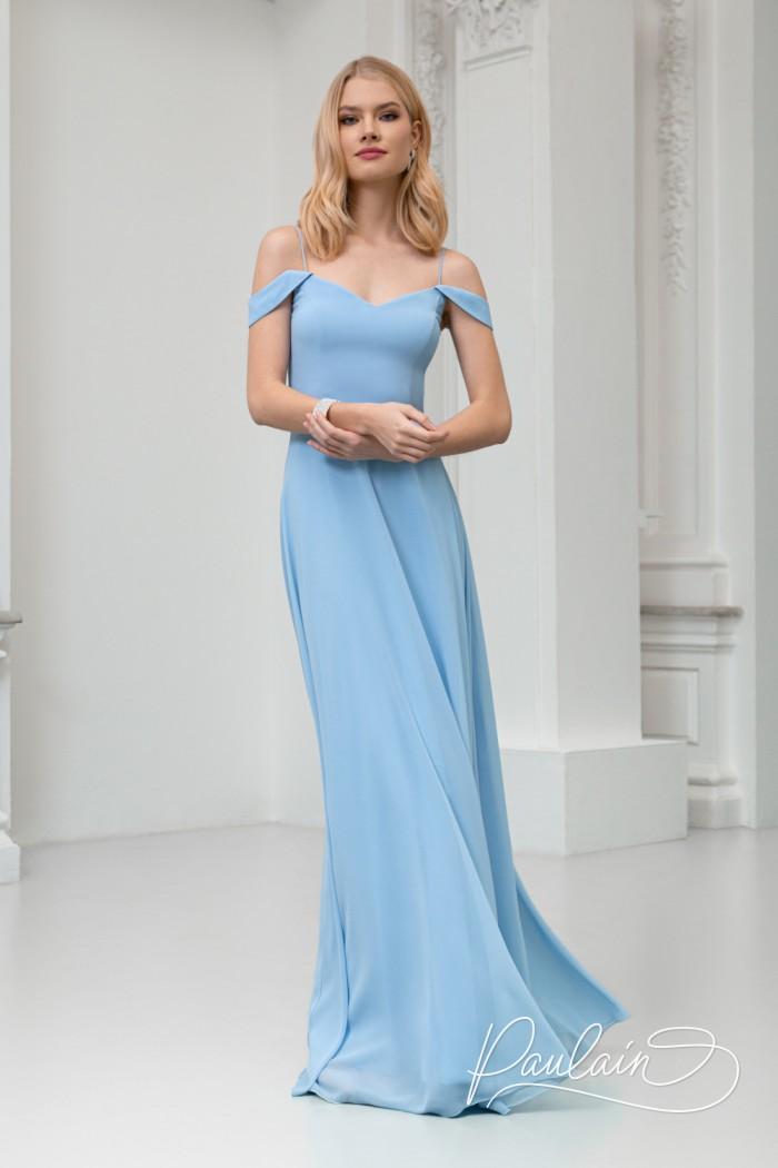 Великолепное вечернее платье нежно-голубого цвета и изящного силуэта - РИВЕР | Paulain