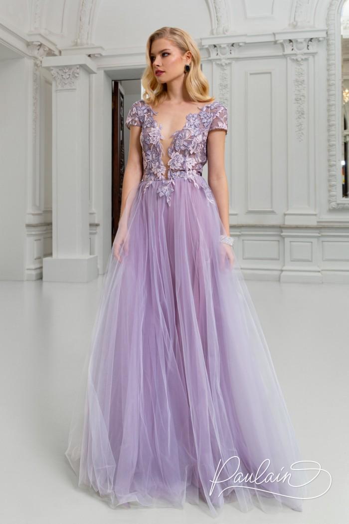 Длинное вечернее платье с пышной юбкой, кружевным лифом и открытой спиной - РОЗМАРИ Макси | Paulain