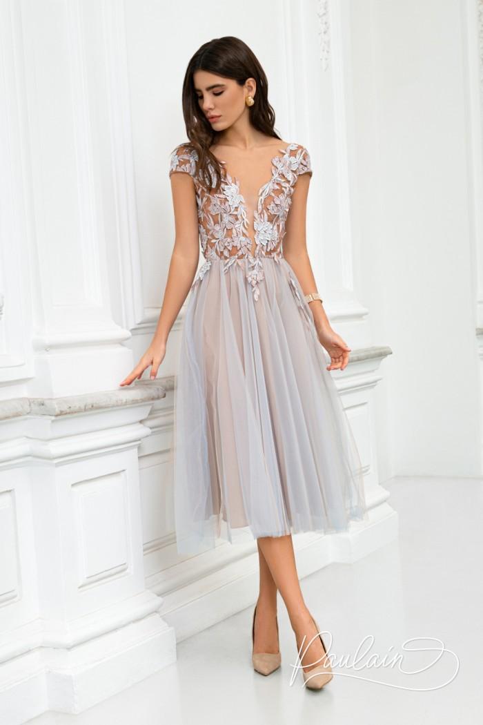 Коктейльное платье с открытой спиной на кружевном лифе и пышной юбкой - РОЗМАРИ Миди | Paulain