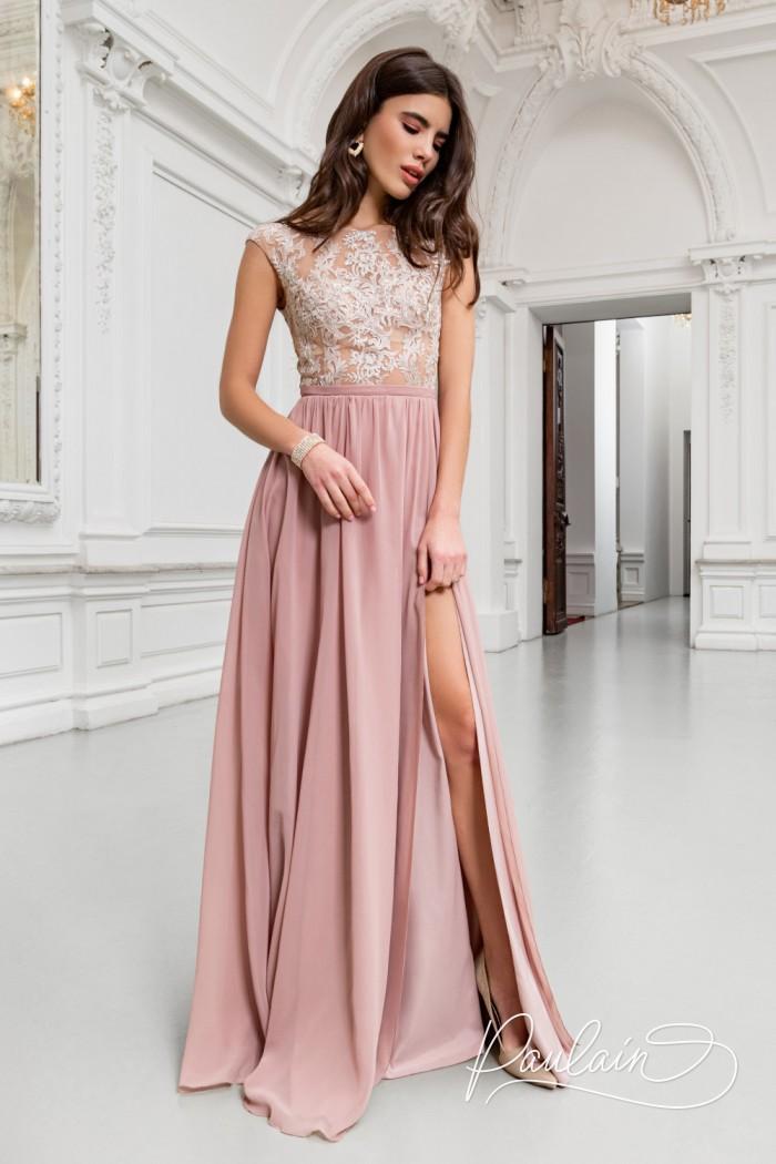 Вечернее платье с изящным кружевным корсетом и летящей юбкой из жоржета - ТАЙЛЕР | Paulain