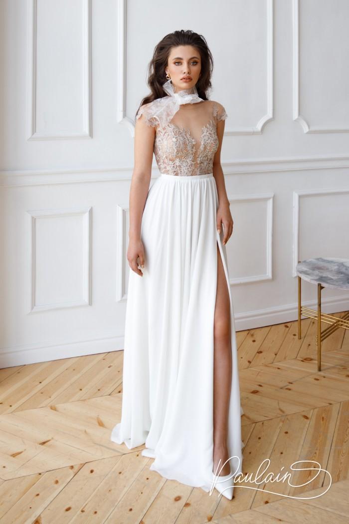 Свадебное платье с невесомым кружевным лифом и длинной юбкой из шифона с высоким разрезом - НАНА | Paulain