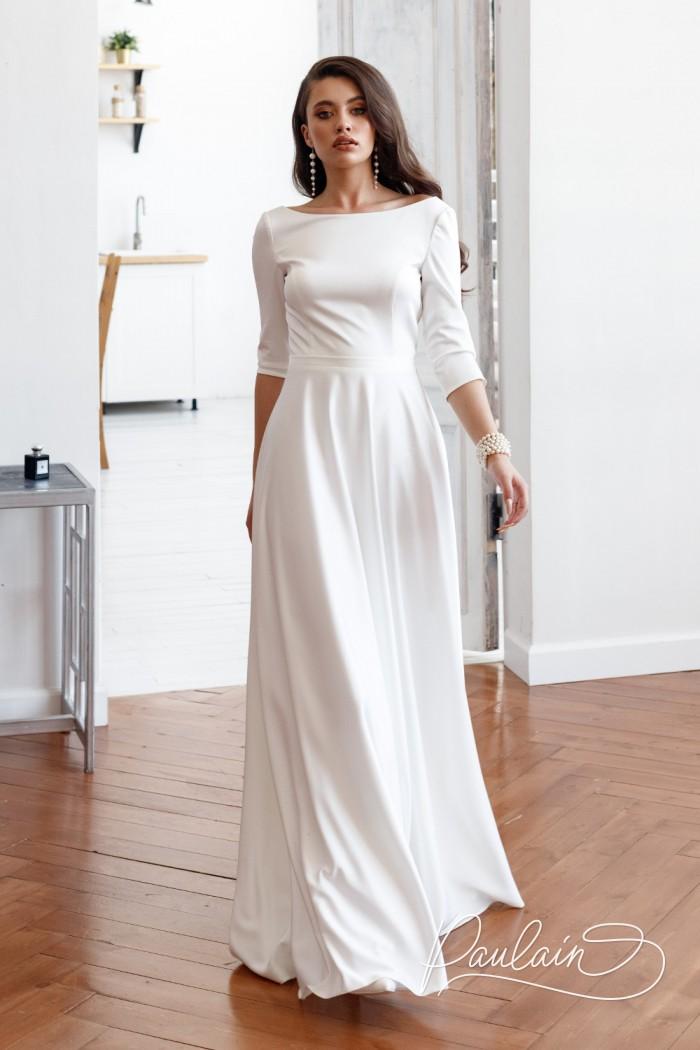 Свадебное платье молочного цвета с оригинальной спинкой и рукавом три четверти - НЕВА | Paulain