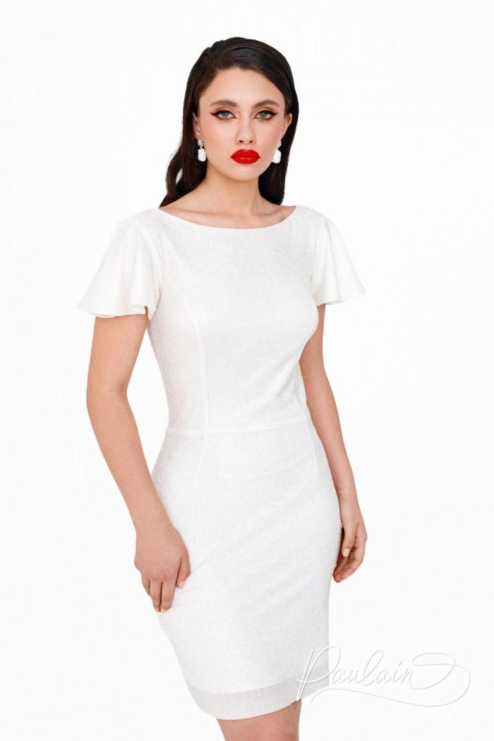 Яркое свадебное платье длины мини из глиттерной ткани на молнии - ПЕРЛ | Paulain