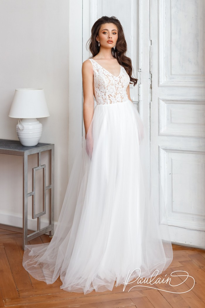 Легкое свадебное платье с воздушной юбкой и кружевным лифом с открытой спиной - СЭМ | Paulain