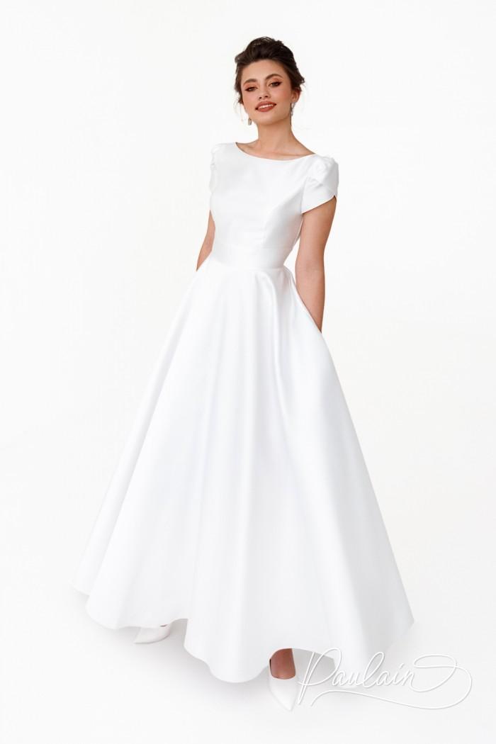 Длинное свадебное платье королевского А-силуэта с коротким рукавчиком - ТУТТА   Paulain