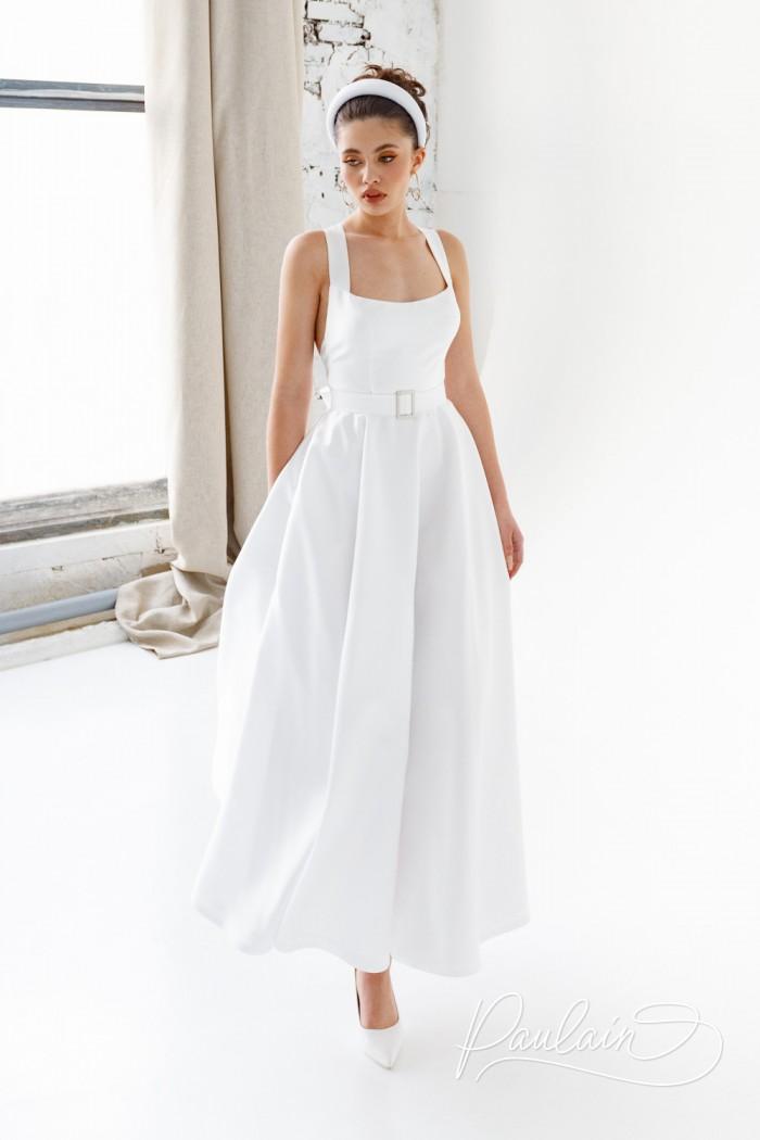 Женственное свадебное платье чайной длины со скрещенными на спине лямками - ЙОКО   Paulain