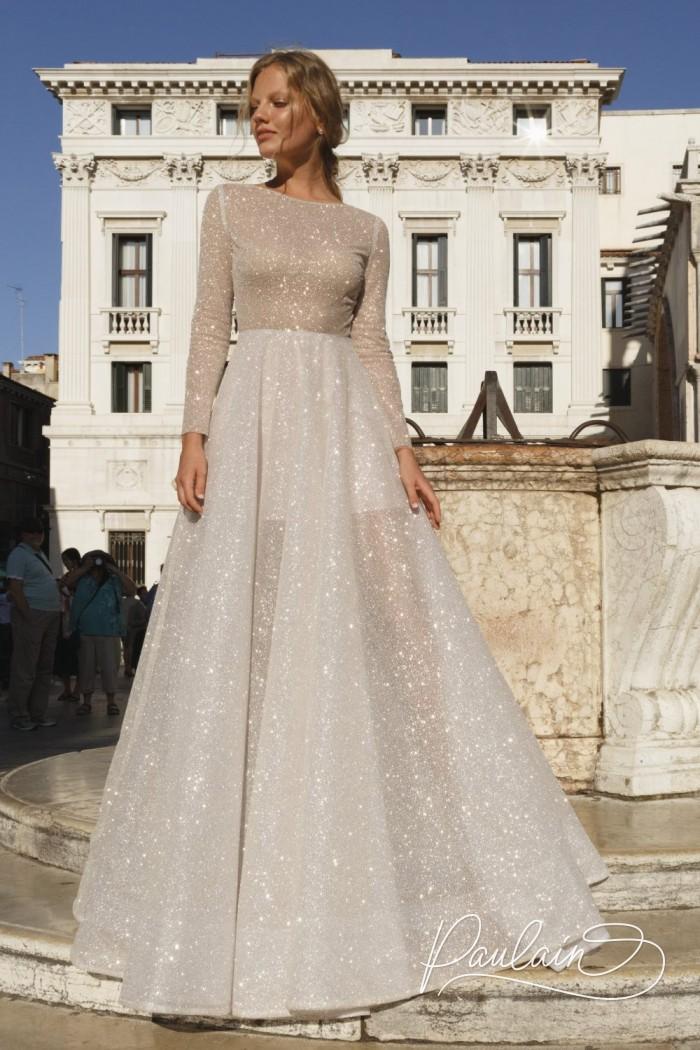 Сияющее вечернее платье А-силуэта с длинным рукавом - АРВЕН | Paulain