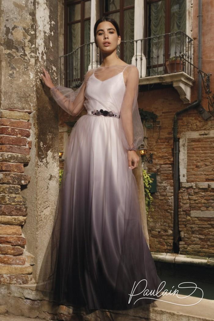 Атласное вечернее платье с эффектом деграде и туника из сетки с рукавами - БЕЛЛА | Paulain