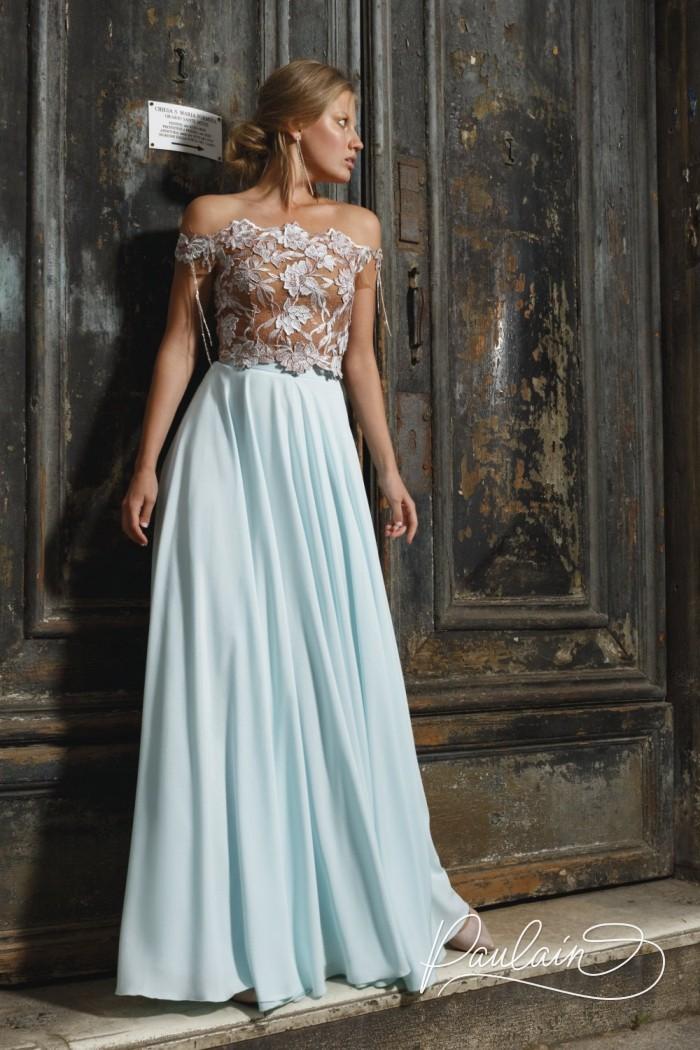 Прозрачный топ из цветочного кружева и длинная юбка из крепа - КОНСТАНЦИЯ | Paulain