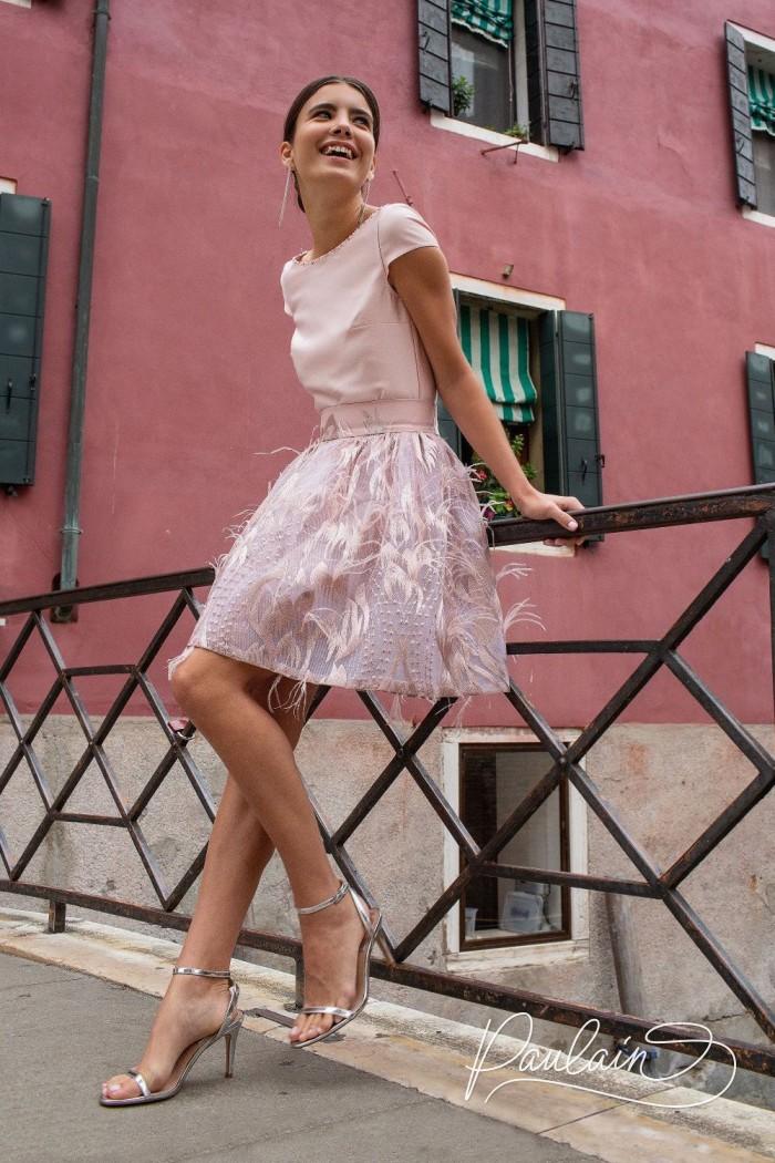 Элегантный топ с открытой спиной и оригинальная мини-юбка с декором - ДЕЙЗИ Мини | Paulain