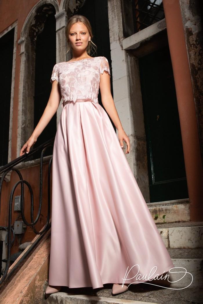 Кружевной топ с рукавчиком и атласная длинная юбка с карманами - ФЛАММЕ Макси | Paulain