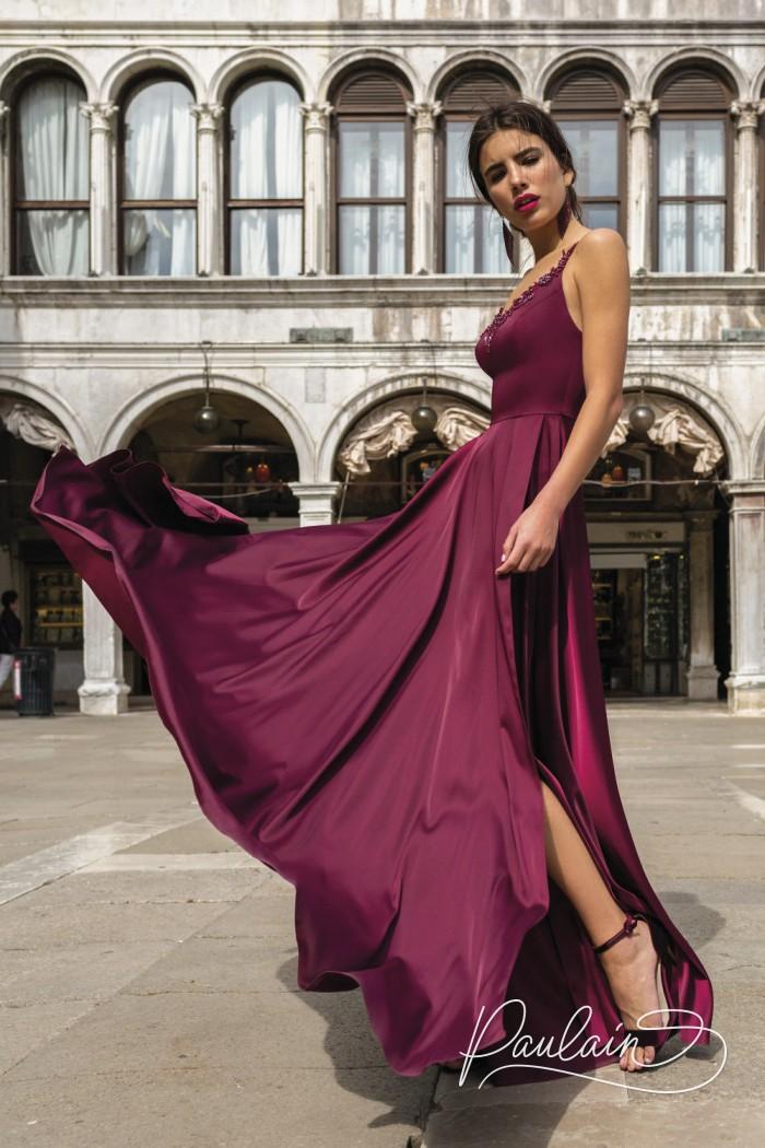 Длинное вечернее платье с высоким разрезом и прозрачной блузкой - ГВЕН | Paulain
