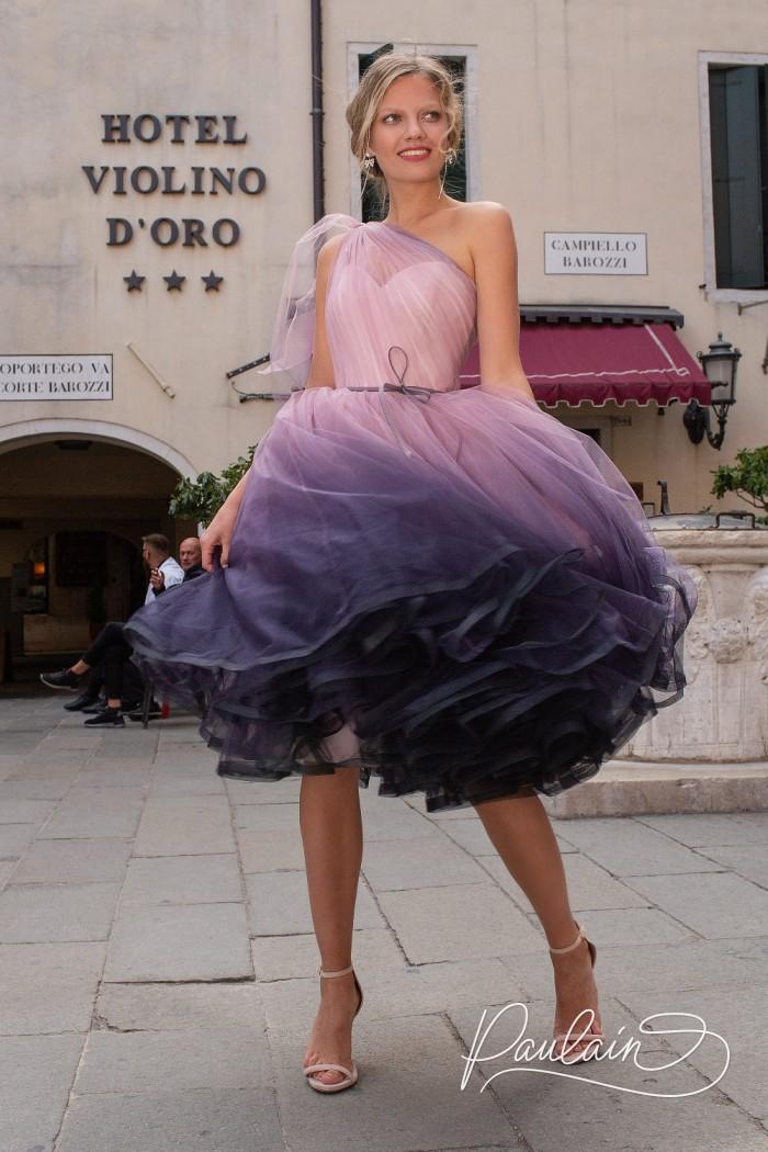 Оригинальное вечернее платье с пышной юбкой длины миди и эффектом деграде - АЙСЕДОРА | Paulain