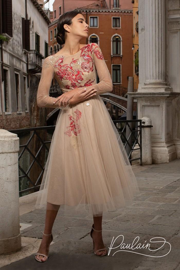 Дизайнерское вечернее платье с рукавом и расшитым кружевом лифом - ЛЕЙЛИ | Paulain