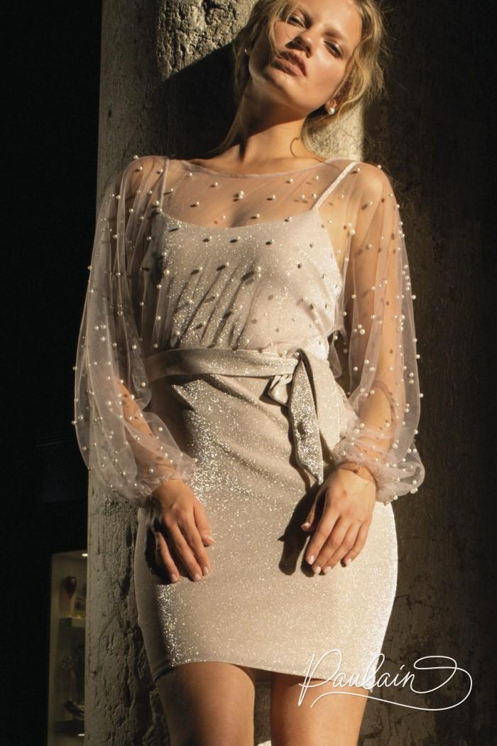 Лаконичное мини платье-комбинация с воздушной блузой расшитой жемчугом - МЕГГИ | Paulain