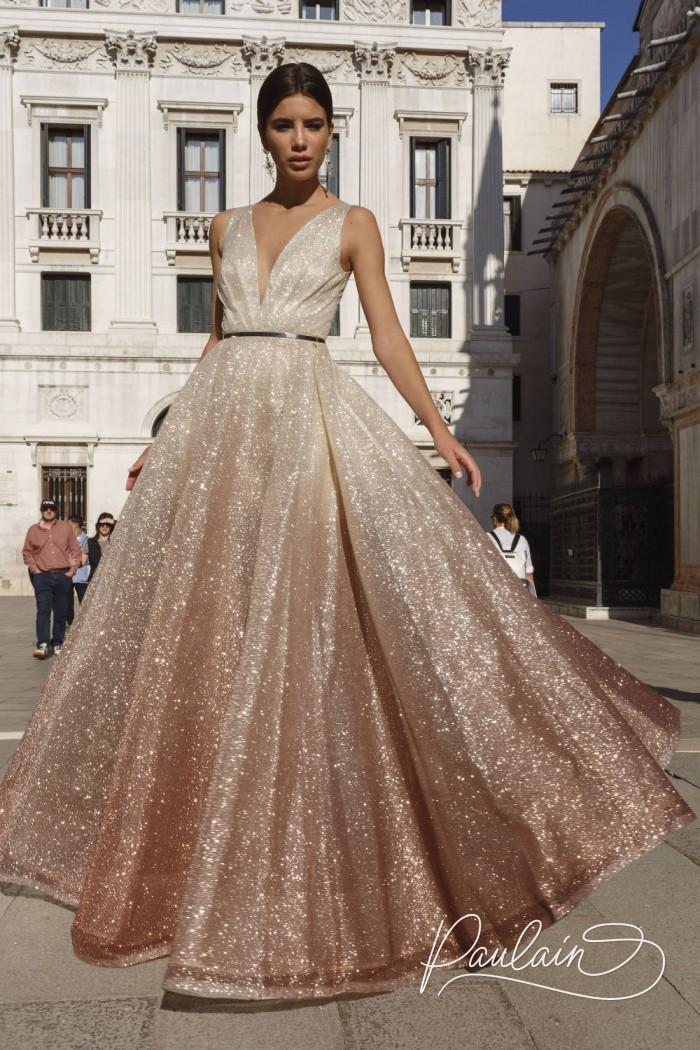 Потрясающее вечернее платье А-силуэта из искрящейся ткани с эффектом омбре - МЕЛИСЕНТА Бурбон | Paulain