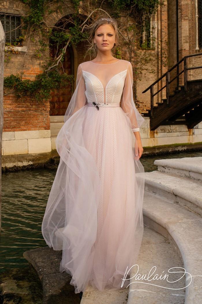 Утонченное платье серебристо-розового цвета с рукавом и открытой спинкой  - ОФЕЛИЯ | Paulain