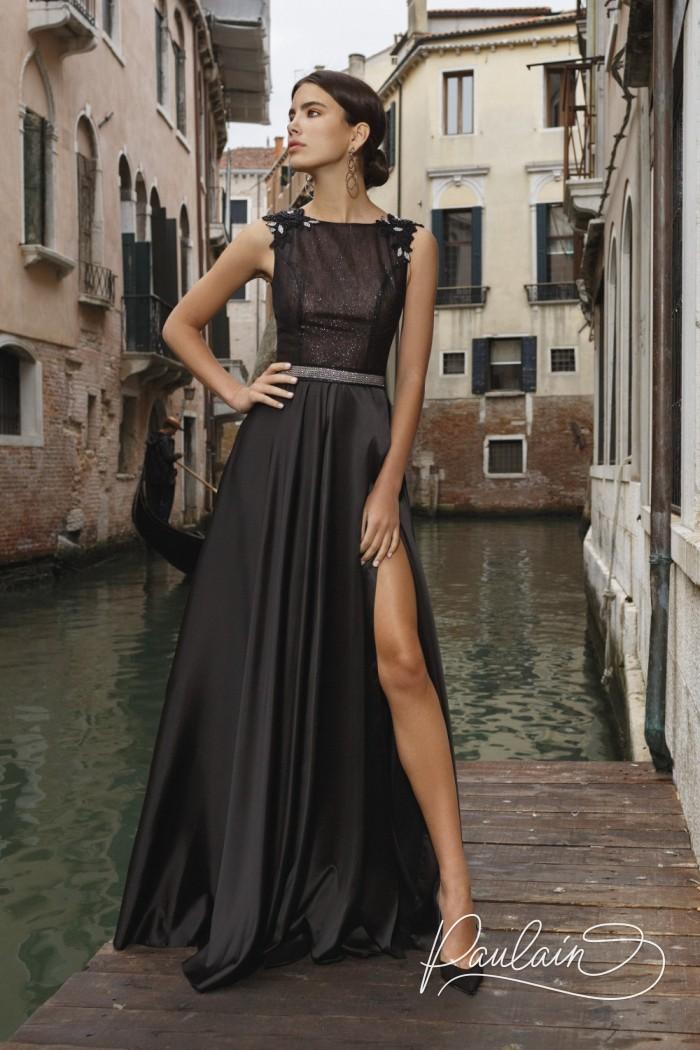 Длинное вечернее платье черного цвета с блеском и открытой спиной - ПЕНЕЛОПА | Paulain