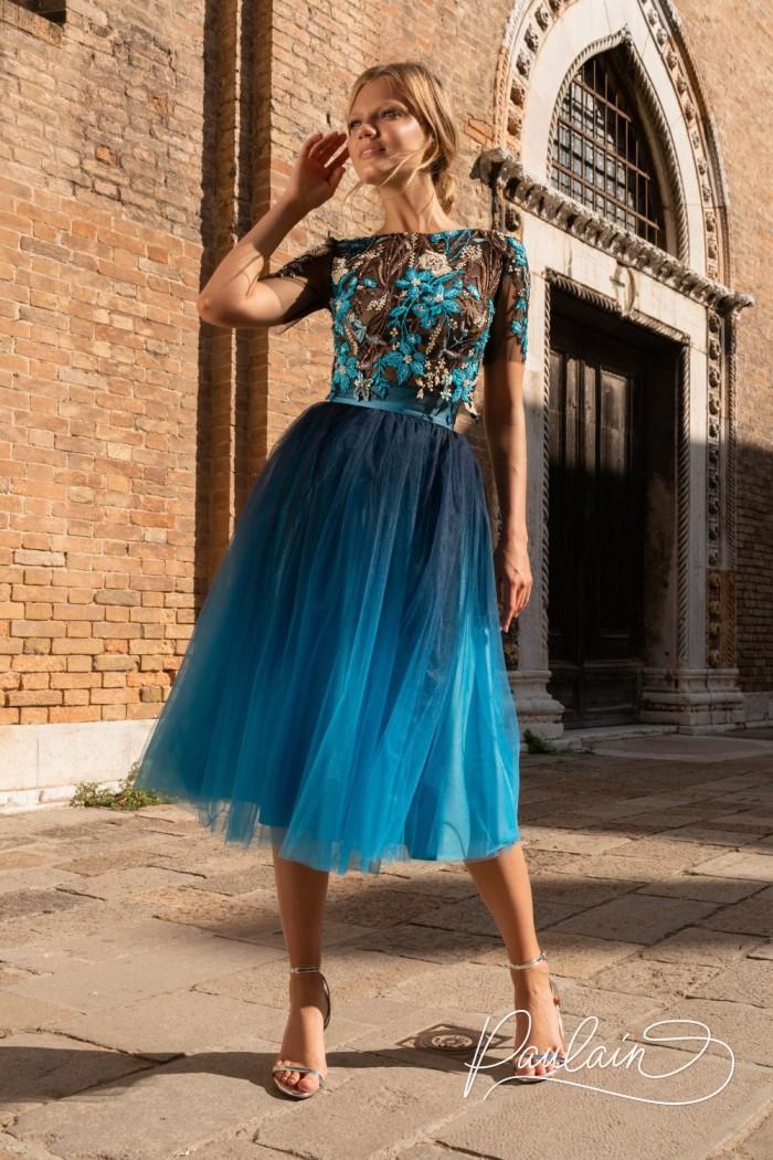 Декорированный вручную кружевной топ и пышная юбка длины миди - ПОКАХОНТАС Миди | Paulain